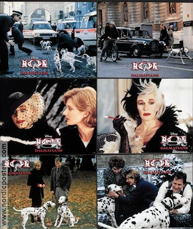 101 Dalmatians 1995 lobby card set Glenn Close