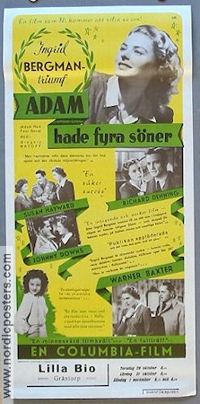 Adam had Four Sons 1941 poster Ingrid Bergman