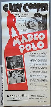 The Adventures of Marco Polo 1938 Movie poster Gary Cooper