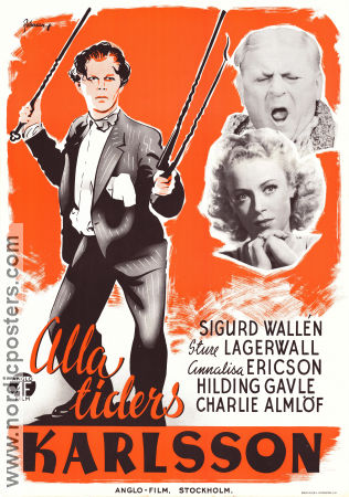 Alla tiders Karlsson 1936 Movie poster Sigurd Wall�n