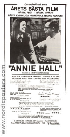 Annie Hall 1977 Movie poster Diane Keaton Woody Allen