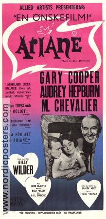 Love in the Afternoon 1957 poster Audrey Hepburn Billy Wilder