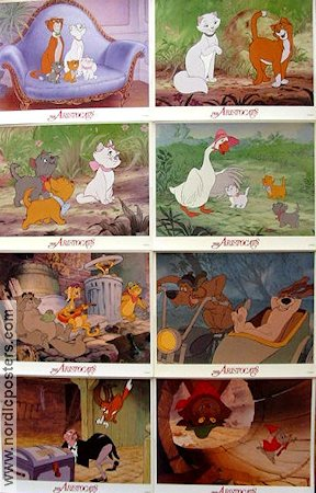 Aristocats 1970 lobby card set Wolfgang Reitherman