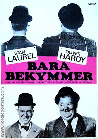 Bara bekymmer 1967 Movie poster Laurel and Hardy
