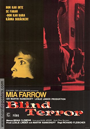 Blind terror 1971 Movie poster Mia Farrow