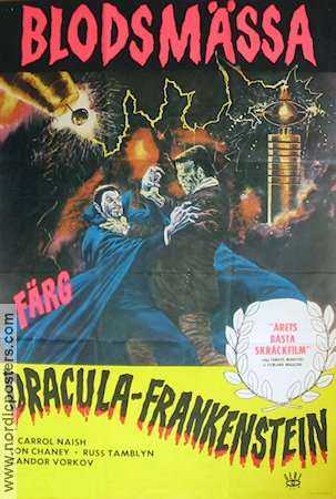 Blodsmässa Dracula-Frankenstein 1972 Movie poster Carrol Naish