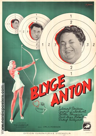 Blyge Anton 1940 Movie poster Edvard Persson