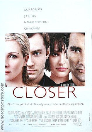 Closer 2004 Movie poster Julia Roberts Mike Nichols