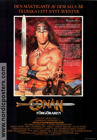 Conan the Destroyer 1984 Movie poster Arnold Schwarzenegger