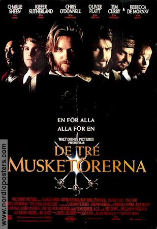 The Three Musketeers 1993 Movie poster Charlie Sheen