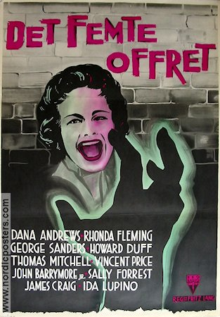 While the City Sleeps 1956 Movie poster Dana Andrews Fritz Lang