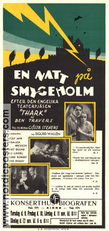 En natt p� Smygeholm 1933 Movie poster Adolf Jahr