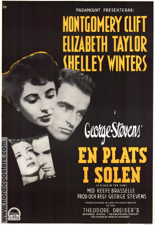 A Place in the Sun 1952 Movie poster Elizabeth Taylor George Stevens