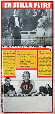 En stilla flirt 1934 Movie poster Tutta Rolf