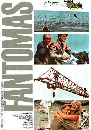Fantomas 1965 Movie poster Jean Marais