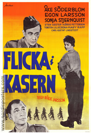 Flicka i kasern 1955 Movie poster Åke Söderblom