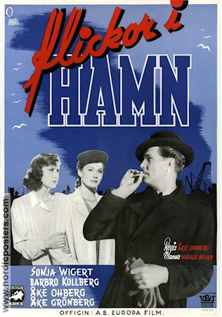 Flickor i hamn 1945 Movie poster Sonja Wigert �ke Ohberg