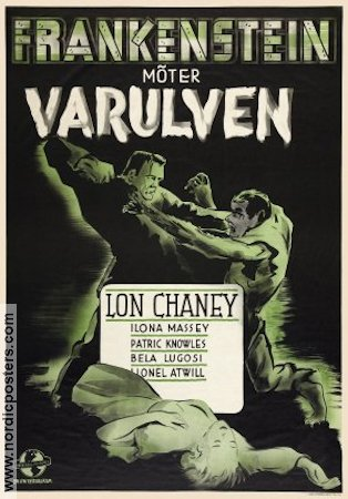 Frankenstein Meets the Wolf Man 1943 Movie poster Lon Chaney