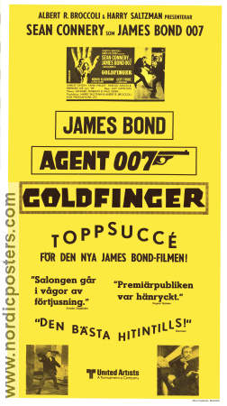 Goldfinger 1964 poster Sean Connery Guy Hamilton