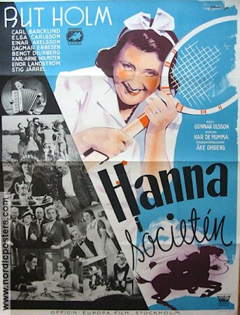 Hanna i societen 1940 Movie poster Rut Holm