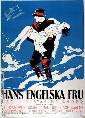 Hans engelska fru (1927) Movie poster 70x100cm B Gustaf Molander/Gösta Ekman/Einar Nerman art