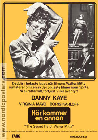 The Secret Life of Walter Mitty 1947 Movie poster Danny Kaye