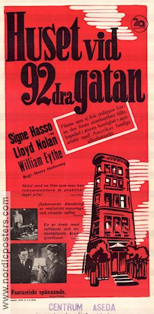The House on 92nd Street 1945 poster Signe Hasso