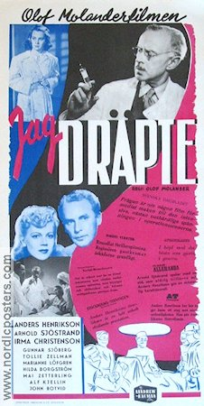 Jag dräpte 1943 Movie poster Anders Henrikson Olof Molander