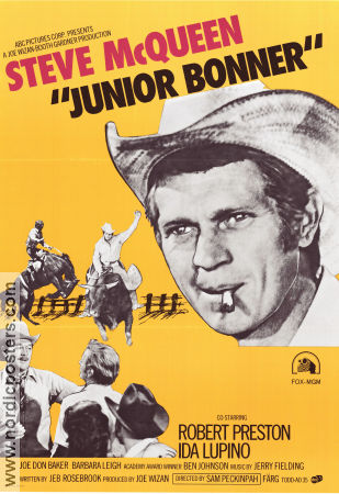 Junior Bonner 1972 Movie poster Steve McQueen Sam Peckinpah