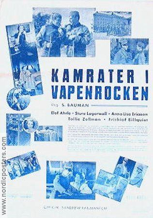 Kamrater i vapenrocken 1938 Movie poster Sture Lagerwall