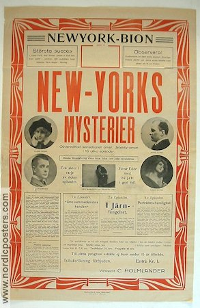New Yorks mysterier 1917 Movie poster Elaine Dodge