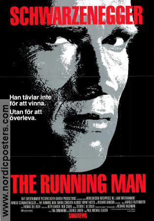 The Running Man 1987 poster Arnold Schwarzenegger Paul Michael Glaser