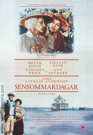The Whales of August 1988 Movie poster Bette Davis Lindsay Anderson