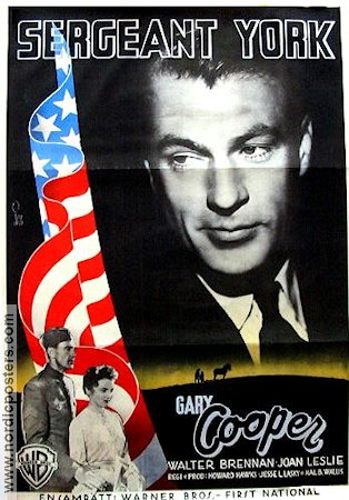 Sergeant York 1942 Movie poster Gary Cooper Howard Hawks