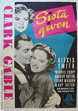 Any Number Can Play 1950 poster Clark Gable