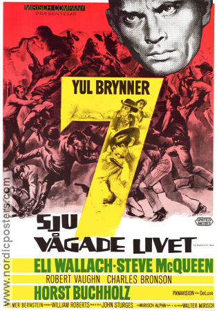 The Magnificent Seven 1960 Movie poster Yul Brynner