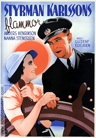 Styrman Karlssons flammor 1938 Movie poster Anders Henrikson