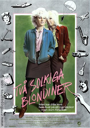Tv� solkiga blondiner 1984 Movie poster Maria Johnsson