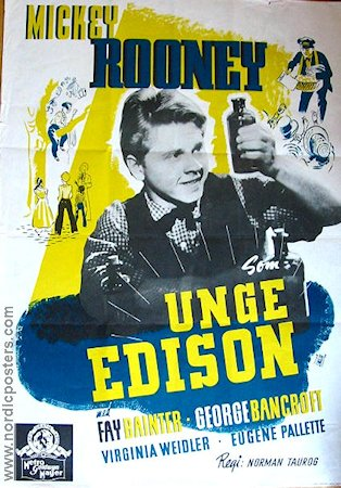 Young Tom Edison 1940 Movie poster Mickey Rooney