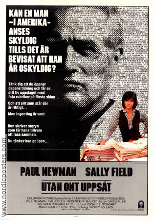 Absence of Malice 1981 Movie poster Paul Newman Sydney Pollack