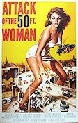 Attack of the 50 Ft Woman 1958 Movie poster Allison Hayes