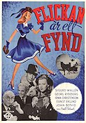 Flickan �r ett fynd 1940 Movie poster Sigurd Wall�n