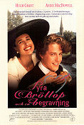 Four Weddings and a Funeral 1993 Movie poster Hugh Grant