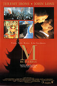 M Butterfly 1993 Movie poster Jeremy Irons