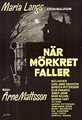 När mörkret faller 1960 Movie poster Nils Asther Arne Mattsson
