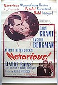 Notorious 1947 Movie poster Ingrid Bergman Alfred Hitchcock