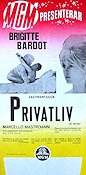 Vie privee 1962 Movie poster Brigitte Bardot Louis Malle