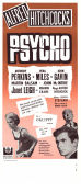 Psycho 1961 Movie poster Anthony Perkins Alfred Hitchcock