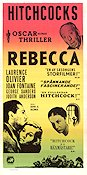 Rebecca 1940 Movie poster Laurence Olivier Alfred Hitchcock