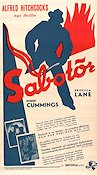 Saboteur 1942 Movie poster Robert Cummings Alfred Hitchcock